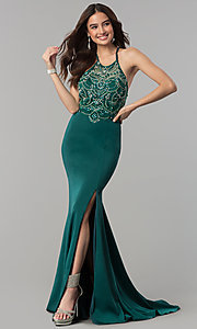 Image of long beaded illusion-sweetheart prom dress. Style: DQ-2200 Detail Image 3