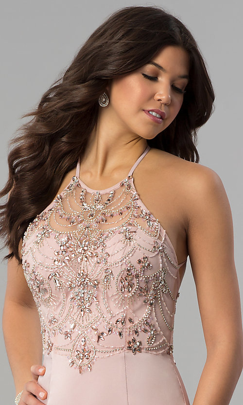 Image of long beaded illusion-sweetheart prom dress. Style: DQ-2200 Detail Image 1