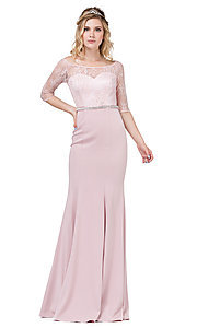 Image of three-quarter-sleeve lace-bodice long prom dress. Style: DQ-2201 Detail Image 3