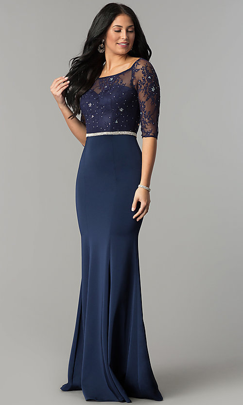 Image of three-quarter-sleeve lace-bodice long prom dress. Style: DQ-2201 Front Image