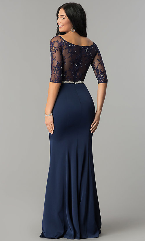 Image of three-quarter-sleeve lace-bodice long prom dress. Style: DQ-2201 Back Image