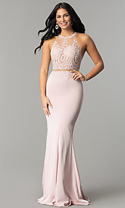 Image of high-neck embroidered mock-two-piece prom dress. Style: DQ-2162 Front Image