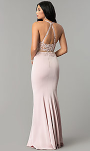 Image of high-neck embroidered mock-two-piece prom dress. Style: DQ-2162 Back Image