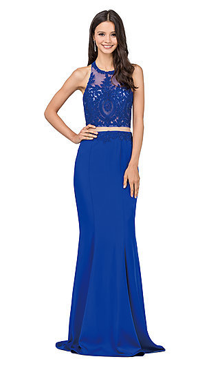 High-Neck Embroidered Mock-Two-Piece Prom Dress