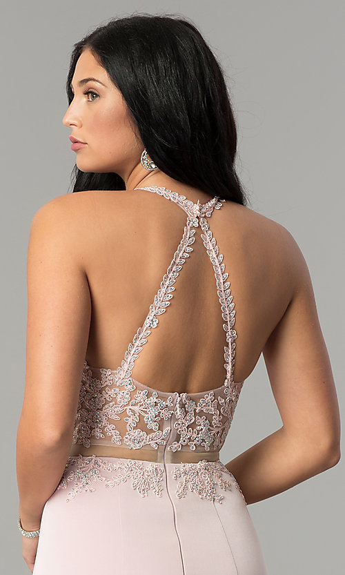 Image of high-neck embroidered mock-two-piece prom dress. Style: DQ-2162 Detail Image 3