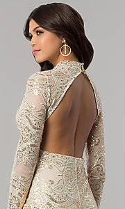 Image of long-sleeve high-neck gold sequin ivory party dress. Style: EM-FPK-2684-123 Detail Image 2