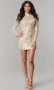 Image of long-sleeve high-neck gold sequin ivory party dress. Style: EM-FPK-2684-123 Detail Image 3