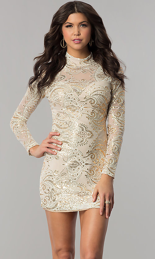Image of long-sleeve high-neck gold sequin ivory party dress. Style: EM-FPK-2684-123 Front Image