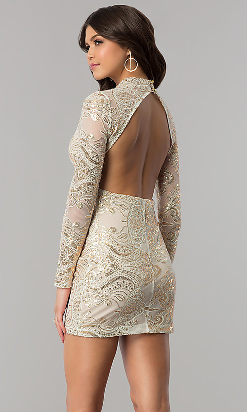 Image of long-sleeve high-neck gold sequin ivory party dress. Style: EM-FPK-2684-123 Back Image