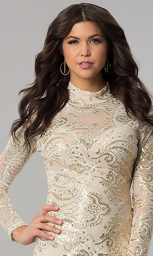 Image of long-sleeve high-neck gold sequin ivory party dress. Style: EM-FPK-2684-123 Detail Image 1