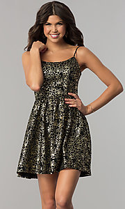 Image of short black party dress with gold metallic print. Style: EM-FFN-3201-030 Front Image