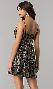 Image of short black party dress with gold metallic print. Style: EM-FFN-3201-030 Back Image