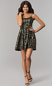 Image of short black party dress with gold metallic print. Style: EM-FFN-3201-030 Detail Image 3