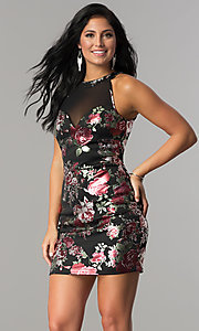 Image of short fitted metallic floral-print black party dress. Style: EM-FLA-3288-098 Front Image