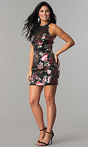 Image of short fitted metallic floral-print black party dress. Style: EM-FLA-3288-098 Detail Image 2