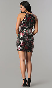 Image of short fitted metallic floral-print black party dress. Style: EM-FLA-3288-098 Detail Image 3