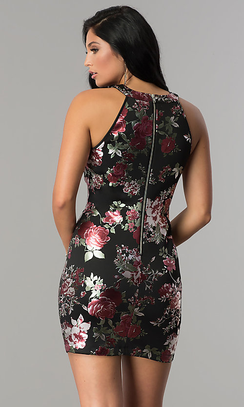 Image of short fitted metallic floral-print black party dress. Style: EM-FLA-3288-098 Back Image