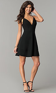 Image of short lace-back v-neck black party dress. Style: EM-FPT-1027-001 Detail Image 3