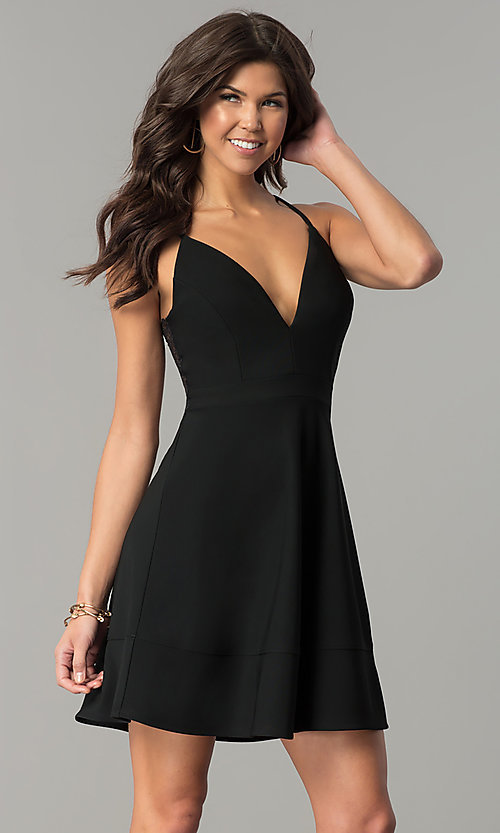Image of short lace-back v-neck black party dress. Style: EM-FPT-1027-001 Front Image