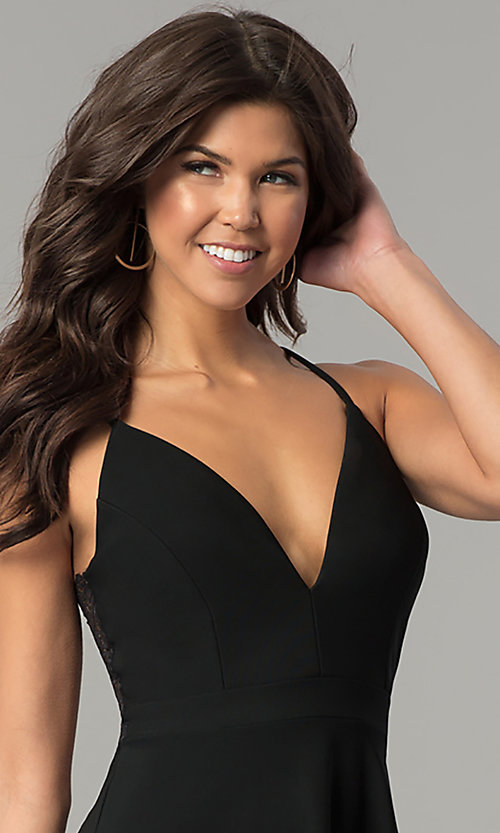 Image of short lace-back v-neck black party dress. Style: EM-FPT-1027-001 Detail Image 1