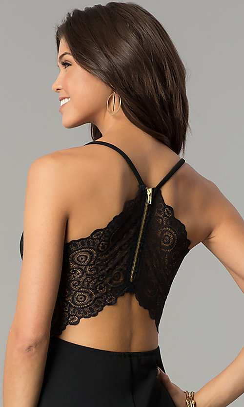 Image of short lace-back v-neck black party dress. Style: EM-FPT-1027-001 Detail Image 2