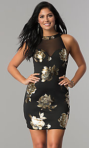 Short Fitted Party Dress with Metallic Print