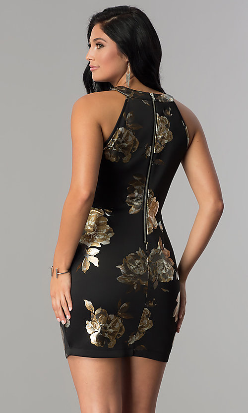 Image of little black illusion-sweetheart print party dress. Style: EM-FLA-3294-030 Back Image