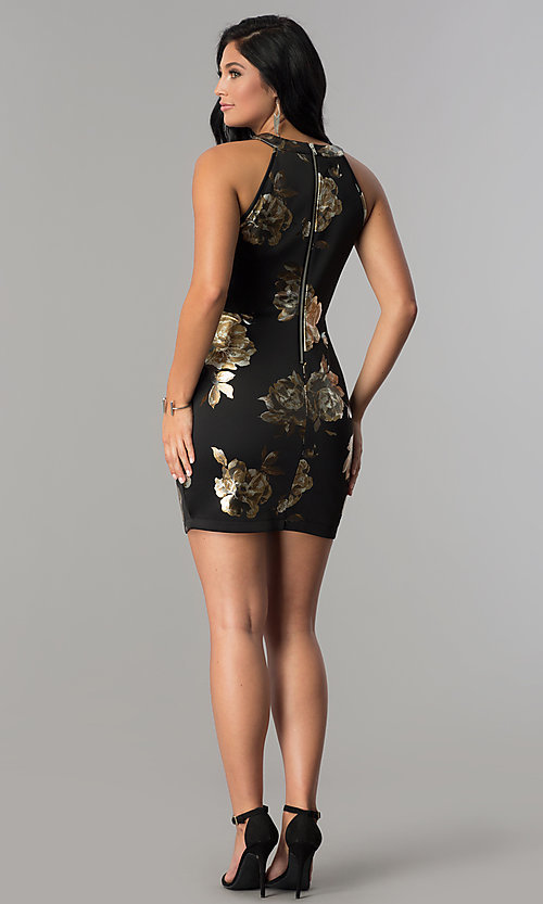Image of little black illusion-sweetheart print party dress. Style: EM-FLA-3294-030 Detail Image 3
