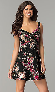 Image of short v-neck floral-print black wedding-guest dress. Style: EM-ENE-3370-001 Front Image