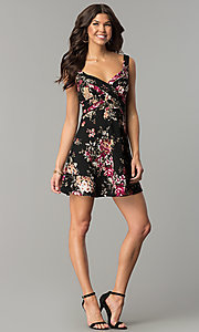 Image of short v-neck floral-print black wedding-guest dress. Style: EM-ENE-3370-001 Detail Image 2