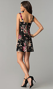 Image of short v-neck floral-print black wedding-guest dress. Style: EM-ENE-3370-001 Detail Image 3