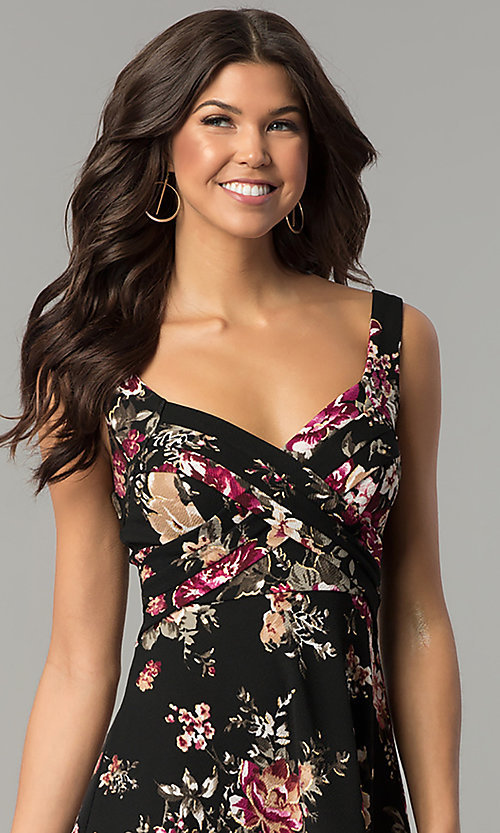 Image of short v-neck floral-print black wedding-guest dress. Style: EM-ENE-3370-001 Detail Image 1