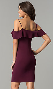 Image of plum purple short off-shoulder ruffled party dress. Style: EM-FPC-3405-521 Back Image