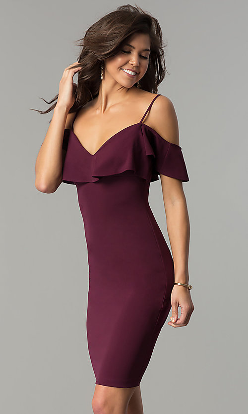 Image of plum purple short off-shoulder ruffled party dress. Style: EM-FPC-3405-521 Front Image
