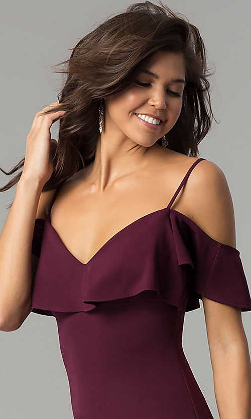 Image of plum purple short off-shoulder ruffled party dress. Style: EM-FPC-3405-521 Detail Image 1