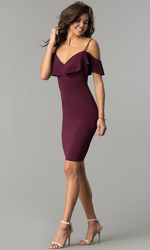 Image of plum purple short off-shoulder ruffled party dress. Style: EM-FPC-3405-521 Detail Image 2