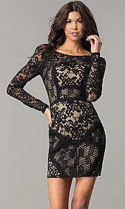 Image of sleeved short party dress with black patchwork lace. Style: EM-FJX-1446-018 Front Image