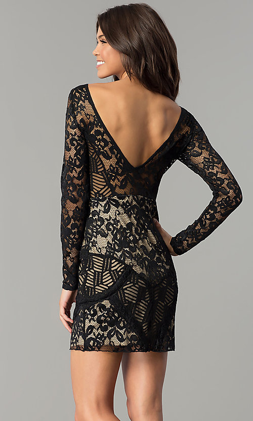 Image of sleeved short party dress with black patchwork lace. Style: EM-FJX-1446-018 Back Image
