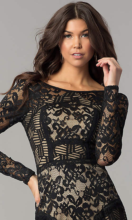 Image of sleeved short party dress with black patchwork lace. Style: EM-FJX-1446-018 Detail Image 1