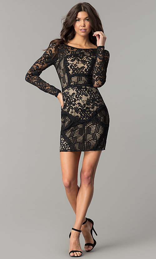 Image of sleeved short party dress with black patchwork lace. Style: EM-FJX-1446-018 Detail Image 2
