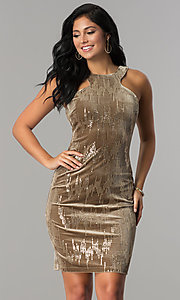 Image of short tan velvet holiday party dress with sequins. Style: EM-FJK-3215-230 Front Image