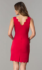 Image of short v-neck sheath party dress with scallops. Style: JU-TI-T0360 Back Image