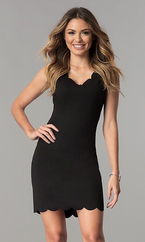 Image of short v-neck sheath party dress with scallops. Style: JU-TI-T0360 Detail Image 2