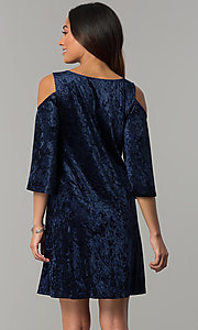 Image of Tiana B navy blue velvet short shift party dress. Style: JU-TI-T0468 Back Image