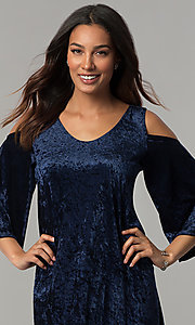 Image of Tiana B navy blue velvet short shift party dress. Style: JU-TI-T0468 Detail Image 1