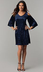 Image of Tiana B navy blue velvet short shift party dress. Style: JU-TI-T0468 Detail Image 2