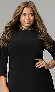 Image of short high-neck black holiday plus-size dress. Style: JU-TI-T90544 Detail Image 1