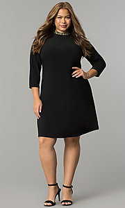 Image of short high-neck black holiday plus-size dress. Style: JU-TI-T90544 Detail Image 2