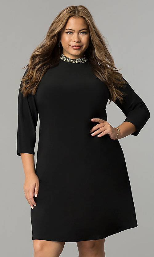 6a664281ae Image of short high-neck black holiday plus-size dress. Style: JU