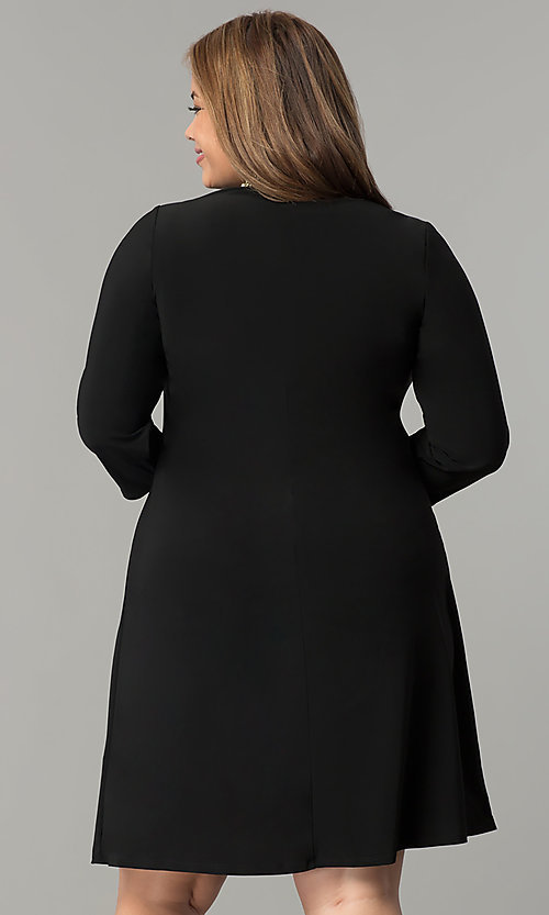 Image of short high-neck black holiday plus-size dress. Style: JU-TI-T90544 Back Image